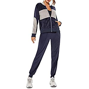 Velour Tracksuit for Women Set Full Zip Up Hoodie Tracksuits Casual Sweatsu...