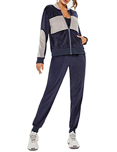 Akalnny Women's Zip Up V Neck Crushed Velour Sweatsuits Casual Tracksuit with Pockets(Navy,S)