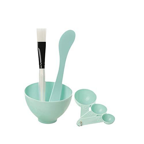 Drametree Salon de beauté Make Mask Bowl Tool Set 4 pièces Set masque for le visage bol Cuillère à mesurer Spa Petit bol + Bol * 1 + Spatule * 1 ++ Pinceau * 1 + Calibres * 3 (Color : Bleu)