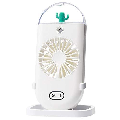 Domilay Ventilador de Neblina de Agua USB Recargable de Mano Aire Acondicionado PortáTil Ventiladores de PulverizacióN Humidificadores Oficina Blanco