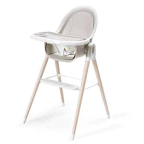 HEAO Convertible Baby High Chair, 3 in 1 Wooden High Chair/Booster Seat/Toddler Chair & Table, with Reclining Seat, Removable Tray, Adjustable Legs for Baby, Infants, Toddlers (Gray)