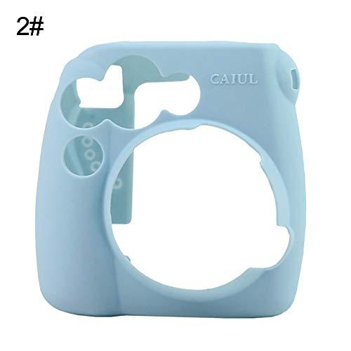 Siliconen Effen Kleur Camera Hoesje Beschermhoes voor Polaroid Instax Mini 8 9 Light Blue Blauw