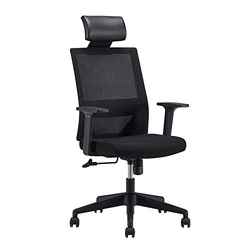 Ergonomic High Back Office Desk Chair Lumbar Support Breathable Mesh Swivel Chair with Adjustable Headrest and Casters