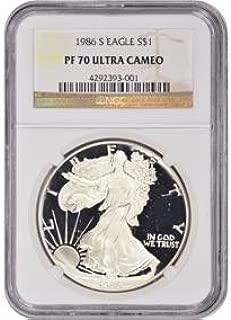 1986 S American Silver Eagle $1 PF-70 NGC