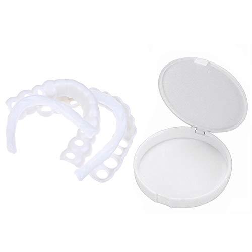 Gnohnay Faccette Protesiche, Denti Dentati per Protesi, Denti Finti Comfort Fit Flex, tonalità Bianco Brillante, Bretelle Provvisorie (1 Superiore + 1 Inferiore + 2 Adesivi)