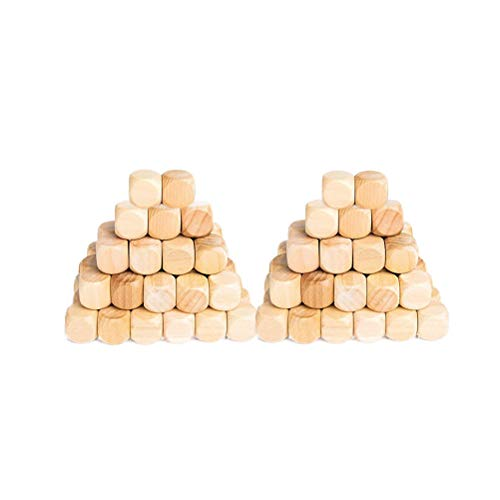 Supvox Holz-W¨¹rfel quadratische Holzkl?tze f¨¹r Babys 18 mm Holz-W¨¹rfel Spielzeug-Set f¨¹r Puzzle Handwerk und Kinder DIY 50 St¨¹ck