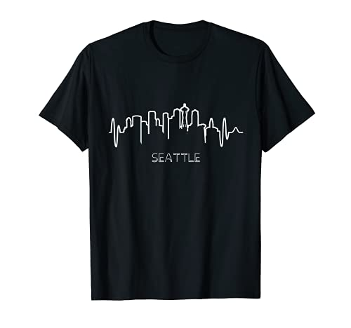 Mens Seattle Heartbeat City Skyline T-Shirt