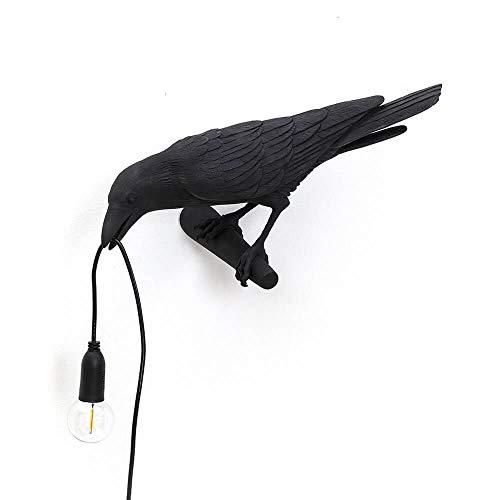Seletti Bird Lamp Looking lámpara de mesa cuervo negro