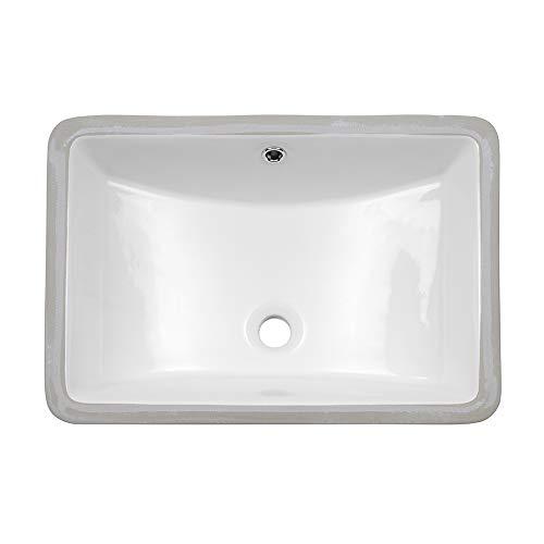 Lordear 21 inch Rectangle Bathroom Vessel Sink Undermount Porcelain Ceramic Lavatory Bathroom Vanity Sink with Overflow