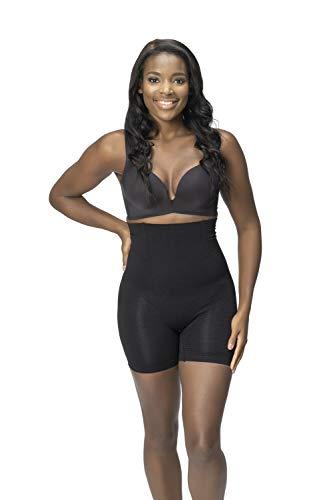 ROBERT MATTHEW Body moldeador para mujer, cintura alta, brilliance, mitad del muslo, moldeador de cuerpo, Negro, L-XL