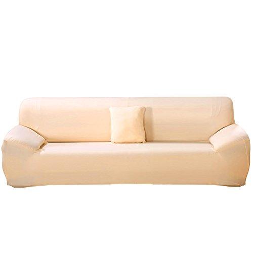 ele ELEOPTION Sofa Überwürfe Sofabezug Stretch elastische Sofahusse Sofa Abdeckung in Verschiedene Größe & Farbe Herstellergröße 235-300cm (Hell apricot, 4 Sitzer für Sofalänge 220-300cm)