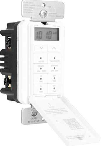 UltraPro 24Hour Digital inWall EasytoProgram Timer Daily presets toTheMinute Countdown ON/Off Override Button Automatic Lighting Schedule – 40955 1 Pack White