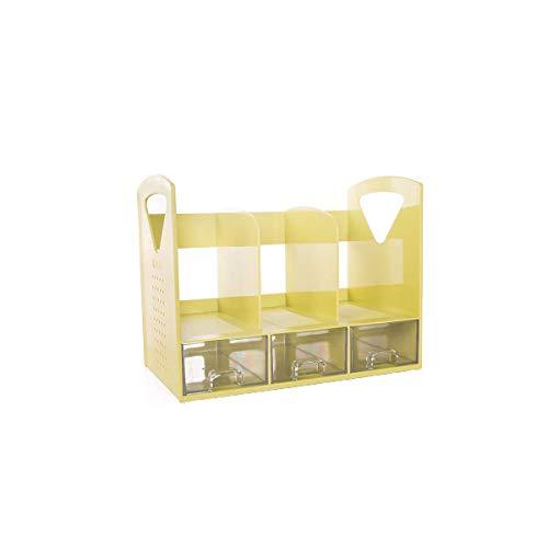 XLTT Estantería de plástico de gran capacidad con cajones, carpetas para dormitorio, escritorio, regalos, sala de estar, oficina, oficina, archivador, color marrón (color: amarillo)