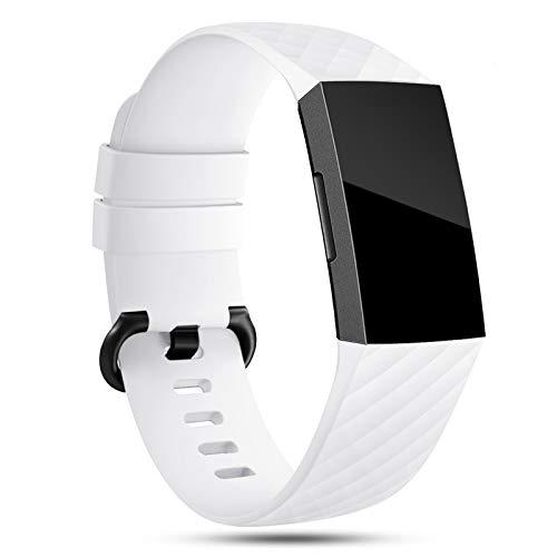 Onedream Armband Kompatibel für Fitbit Charge 3/ Charge 4 Special Edition Uhrenarmband Damen Herren, Klassisch Sport Silikon Uhr Zubehör Ersatzarmband Weiß S
