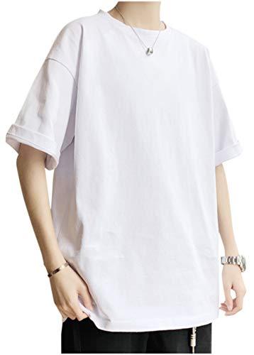 [ゴスファング] GO82WHXL クルーネック Uネック Tシャツ ティーシャツ ビッグシルエット 無地 半袖 5分袖 シンプル カジュアル 大きいサイズ おおきいサイズ ゆったり カットソー ビッグTシャツ ビッグサイズ トップス 原宿 韓国 トレーニ