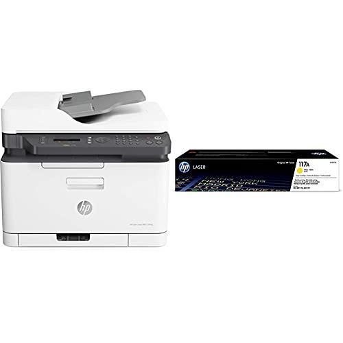 Hp Color Laser Mfp 179Fnw 4Zb97A, Stampante Multifunzione A4 A Colori, Stampa & Toner 117A W2072A, Cartuccia Originale Da 700 Pagine, Giallo