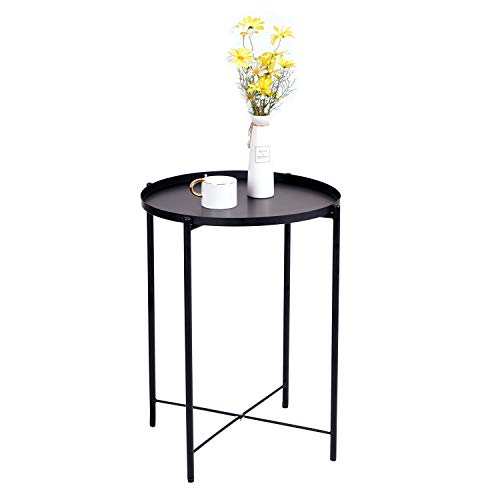 Jooli H Tray Metal End Table, Removable Round Coffee Table Sofa Side Table Outdoor Indoor Snack Table Telephone Table (Black)