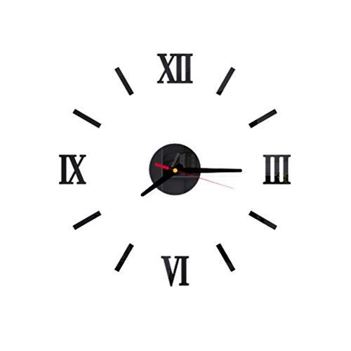 VOSAREA Reloj de Pared sin Marco Adhesivo de Bricolaje Adhesivo de acrílico 3D Reloj de Pared silencioso (Negro)