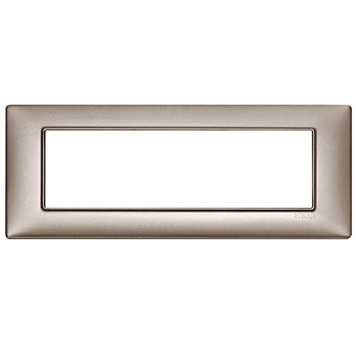 Vimar Serie Piatta - Placca 7 Modulo Metallo Nichel Perlato