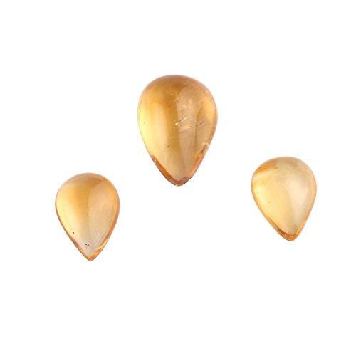 BONLISONS Cabujón de Citrino Africano Natural en Forma de Pera Piedras Preciosas Sueltas 3 Piezas de Lote para Anillos y Joyas |Piedra Preciosa semipreciosa |Gemas Sueltas de Citrino