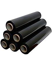 Rollo de film negro elástico y resistente para paquetes y palés