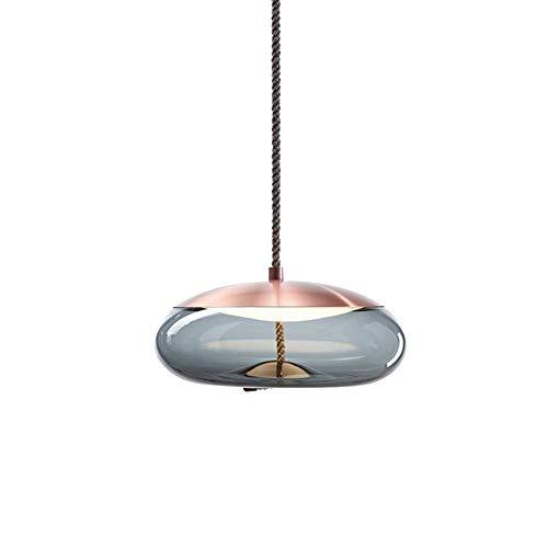 LED Moderne hanglamp Rose Gold en Aqua Blue glazen kroonluchter regelbaar hangend lichtpunt for Restaurant Keuken Eetkamer Woonkamer Slaapkamer