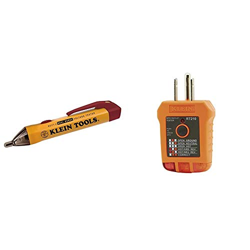 Klein Tools NCVT-2 Voltage Tester, Non-Contact Dual Range Voltage Tester Pen & RT210 Outlet Tester, Receptacle Tester for GFCI/Standard North American AC Electrical Outlets