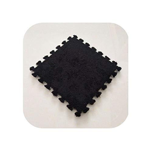 Area Rug Pad |9 Stück/Set 30 cm/Stück Puzzle Matte Eva Schaum Shaggy Velvet Teppich Türmatte Puzzle Matte Plüsch Stoff Teppich Bereich Teppich Raum Fußmatten-schwarz-
