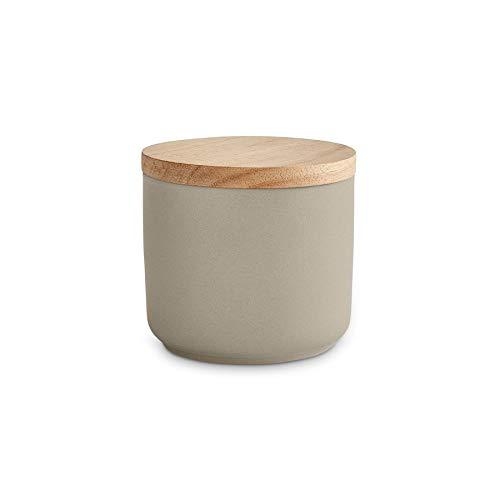 Keramik Vorratsdosen mit Holzdeckel Sweet Scandi, luftdichter Kautschukholz-Deckel, Aufbewahrungsdosen, Frischhaltedosen - 1 x Hellgrau: 10x9cm