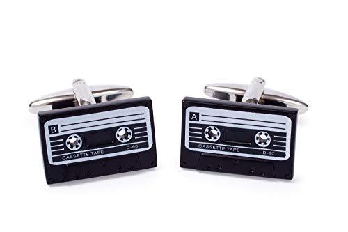 Sologemelos - Boutons De Manchette Cassette - Noir, Blanc - Hommes - Taille Unique