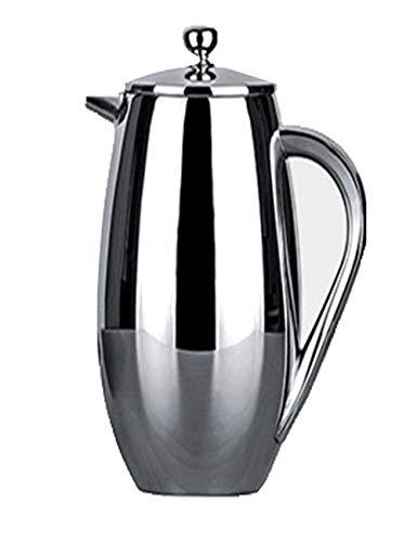 SJQ-coffee pot Marmite Courte en Acier Inoxydable de Haute Qualité - MéThode Pression - pour la PréParation du Thé, avec Filtre et Double Isolation - Appareils de Cuisine, (350 ML, Argent)