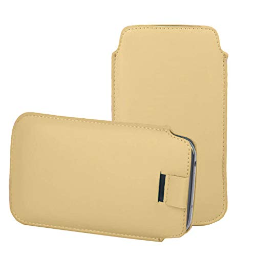 KP TECHNOLOGY Alcatel 1SE 2020 Pull Tab, PU Leather Pull Tab Pouch For Alcatel 1SE 2020 (GOLD)