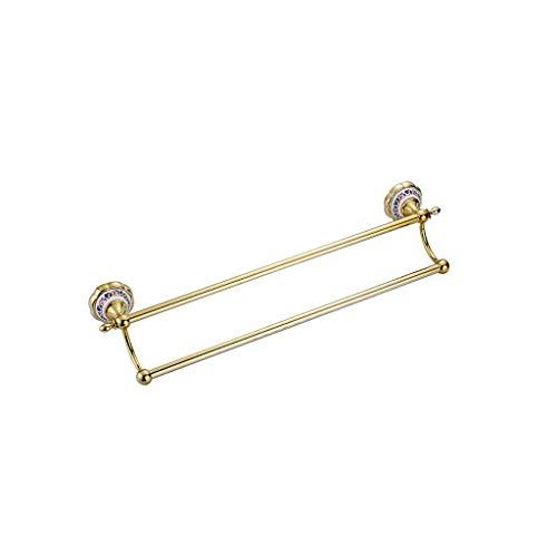 MGMDIAN Toallero de Toalla de Porcelana de Flor Colorida toallero de Oro Varilla de Cobre Azul baño clásico Accesorios de baño (Color : Gold)