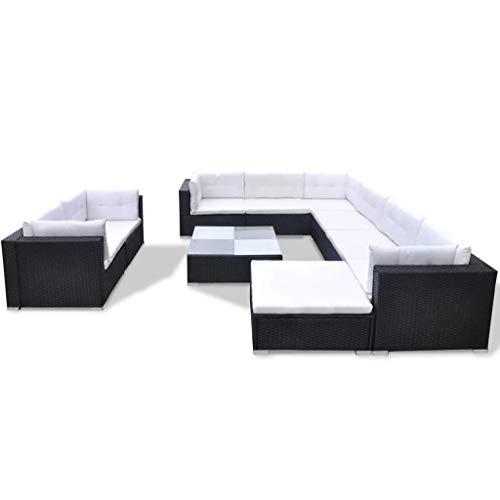 vidaXL Gartenmöbel 10-TLG. mit Auflagen Sitzgruppe Sitzgarnitur Sofa Lounge Gartensofa Gartenset Rattanmöbel Sofagarnitur Poly Rattan Schwarz