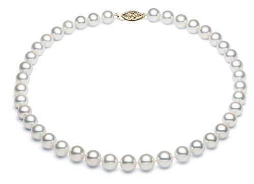 7-7,5 mm, in oro bianco 14 k con perla Akoya Collana con perle d'acqua salata sono di qualità, Oro giallo, colore: oro/bianco, cod. N-1365-AK-70-YG-A-16