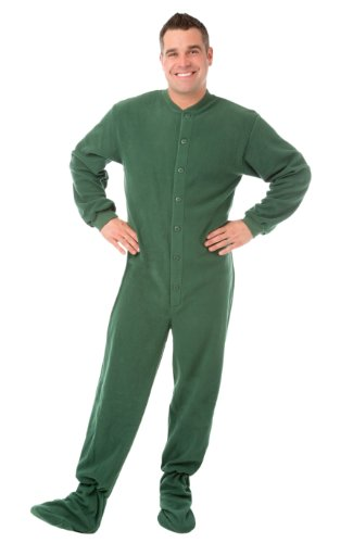 Big Feet Pyjama Co Pijama con Bum-aleta de patas pijamas Micropolar X-Grande Verde