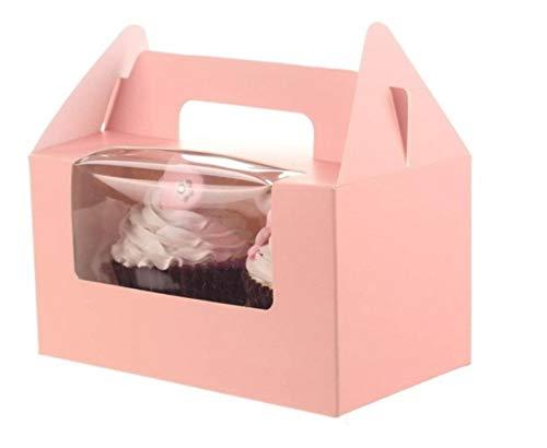 Aomerrt 12 Stks/partij Twee Case Wit Roze Blauw Kraft Papier Cupcake Doos Cake Box Met Schone PVC Venster Bruiloft Party Favor Doos Cake Verpakking