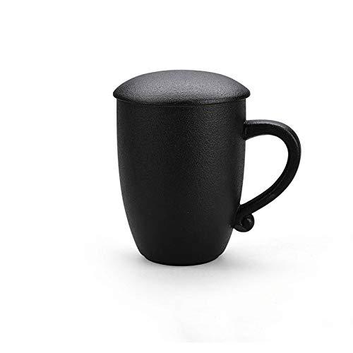YHshop Taza de café Taza de cerámica Simple Hogar Tazas de té Taza de café de la Oficina de Las señoras Creativas con la Tapa mamá, Amante Taza de Agua (Color : Black)