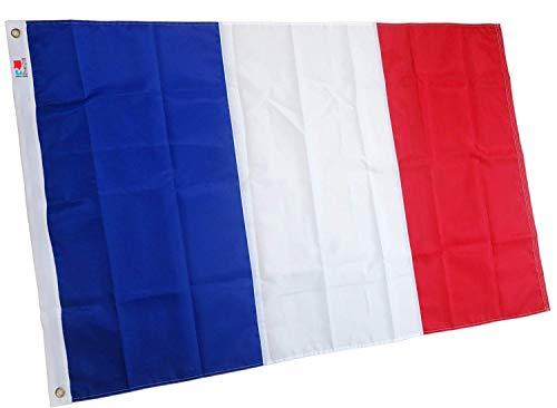rhungift Drapeau France 150x90 cm - Grand Drapeau National brodé de qualité Premium Drapeaux - Nylon 210D Durable pour extérieur/intérieur - Pas en Polyester Bon marché. Drapeau français