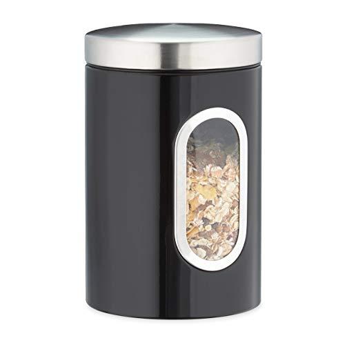 Relaxdays Vorratsdose, Deckel, Sichtfenster, 1,4 L, für Kaffee, Mehl, Pasta, Aufbewahrungsdose Küche, Metall, schwarz