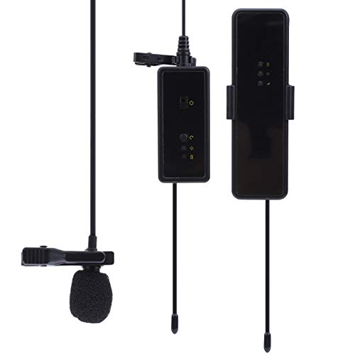 Micrófono inalámbrico para entrevistas, recepción nítida, Hi-Fi, chip de reducción de ruido activo, soporte para 25 canales, interfaz de carga USB, con soporte de zapata, micrófono en vivo con mini cl