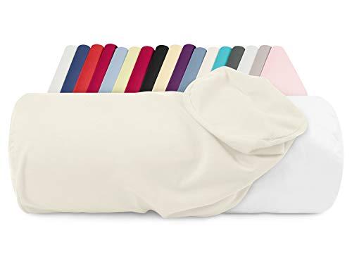 npluseins Jersey-Kissenhülle für Nackenrollen in 17 Farben - 100% Mako-Baumwolle - Einheitsgröße ca. 40 x 15 cm, Bezug in Perlmutt