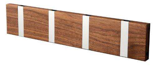 Perchero de pared (madera de nogal, 4 ganchos)