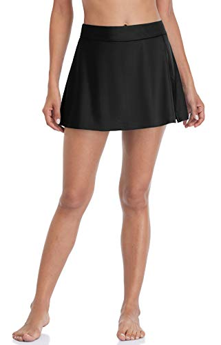 beautyin Black Swim Skirt Swimming Suit Bottoms for Women Swimsuit Tankini Skort