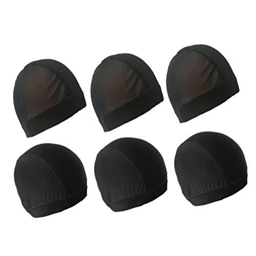 Minkissy 6 Pcs Dôme Casquettes Élastique Perruque Cap Extensible Spandex Dôme Casquettes Respirant Cheveux Maille Net pour Hommes Femmes Noir