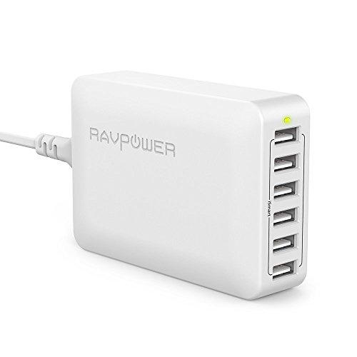 RAVPOWER Cargador USB de Pared con 6-Puertos, 60W/12A Cargador de Red con Tecnología iSmart 2.0 Compatible con iPhone 12 11 Pro XS X 8 Samsung Huaiwei Xiaomi y Más