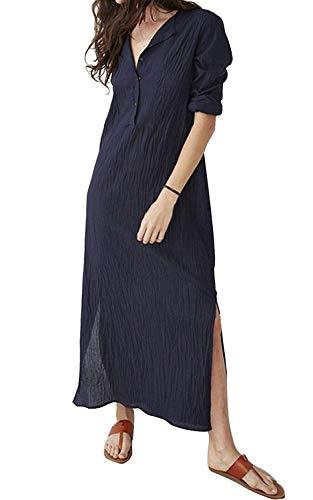 MAGIMODAC Maxikleider Damen Sommerkleid Leinenkleid Strandkleid Langes Kleid Longblusen 3/4 Ärmel Luftig 32 34 36 38 40 42 44 46 (Dunkelblau, Etikett 4XL/EU 44)