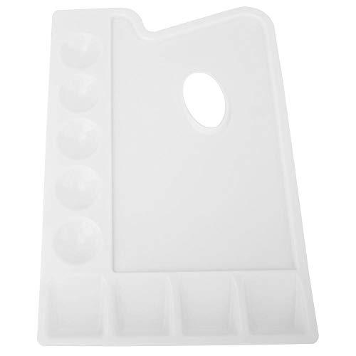 Rectángulo blanco Paleta de pintura Plástico PVC Engrosamiento Paleta Pozos para acuarela Acrílico Pintura al óleo Colores de mezcla Soporte lavable para artistas de artesanía fina