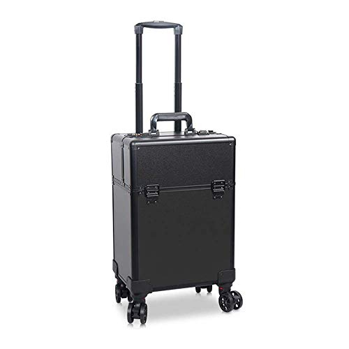 DDL Lockable Hairdressing Trolley Artist Cosmetic Rolling Suitcase ing Drawers Beauty (Color : Black)