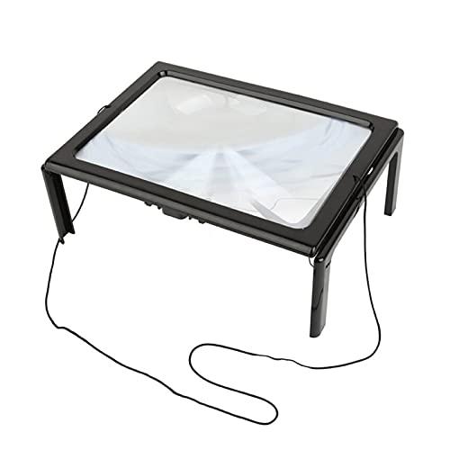 YNLRY Luz LED de cristal ultrafino grande espejo viejo lectura escritorio vidrio 5 veces gran campo de visión lectura